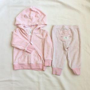 Pink soft bear warm up suit set